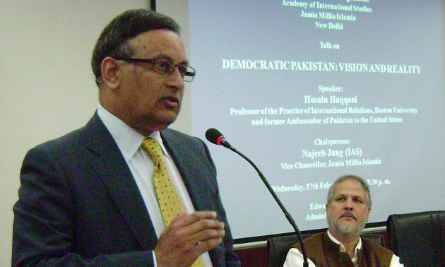 Ambassador Husain Haqqani gives a lecture on democracy in Pakistan at the Academy of International Studies, Jamia Millia Islamia University, New Delhi
