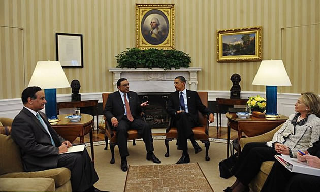 Ambassador Husain Haqqani accompanies President Zardari to a meeting at the White House with US President Barack Obama and US Secretary of State Hillary Clinton